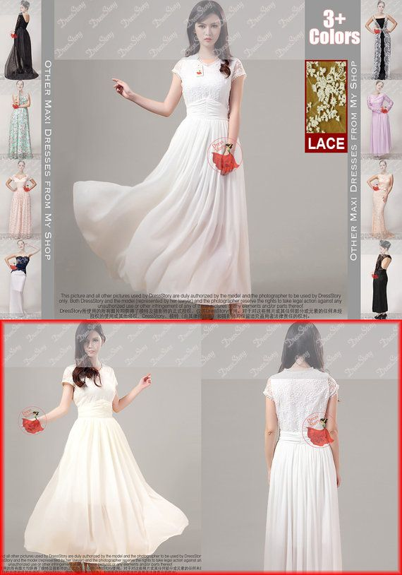 White Lace Prom Dress - White Lace Maxi Dress - Embroidered Organza Dress - Elegant Lace Maxi Dress -Lace Evening Dress-Ivory Lace Dress-304