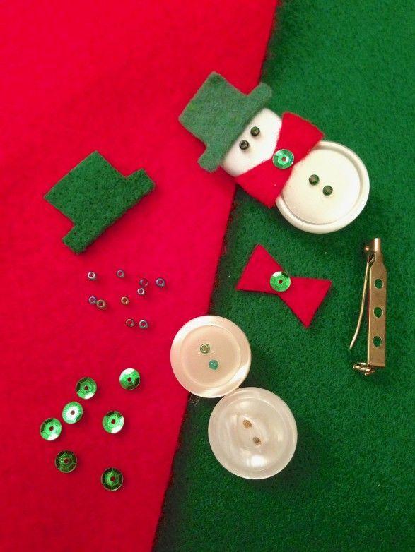 Cómo hacer #broche #navideño de #muñeco de #nieve con #botones  #HOWTO #DIY #artesanía #manualidades #reciclaje