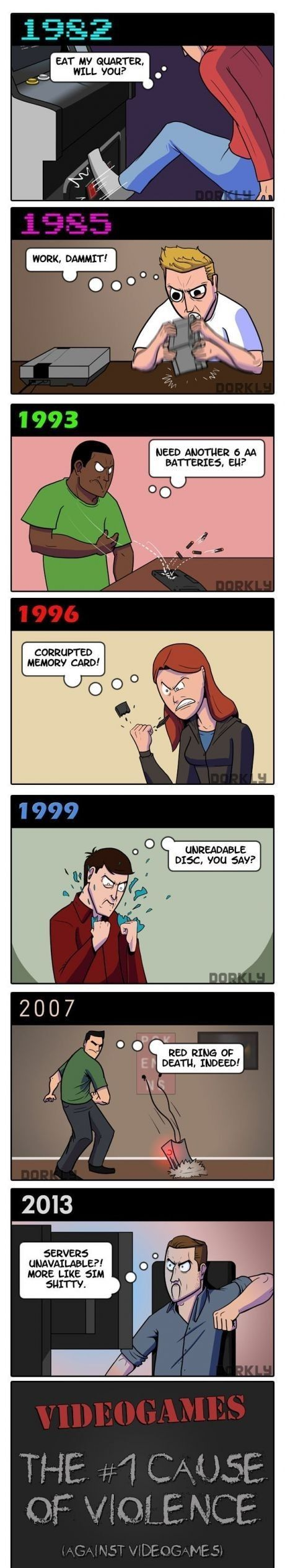I definitely think some video games lead to more violent behavior, but this is totally hilarious. Growing up in the 80s, I still remember the anger management problems that ensued from your joystick being uncooperative LOL