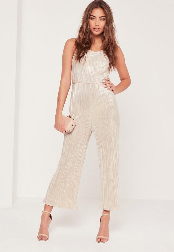 Pleated culottes are so on trend right now and this nude and silver jumpsuit with strappy back detailing has all the boxes ticked!