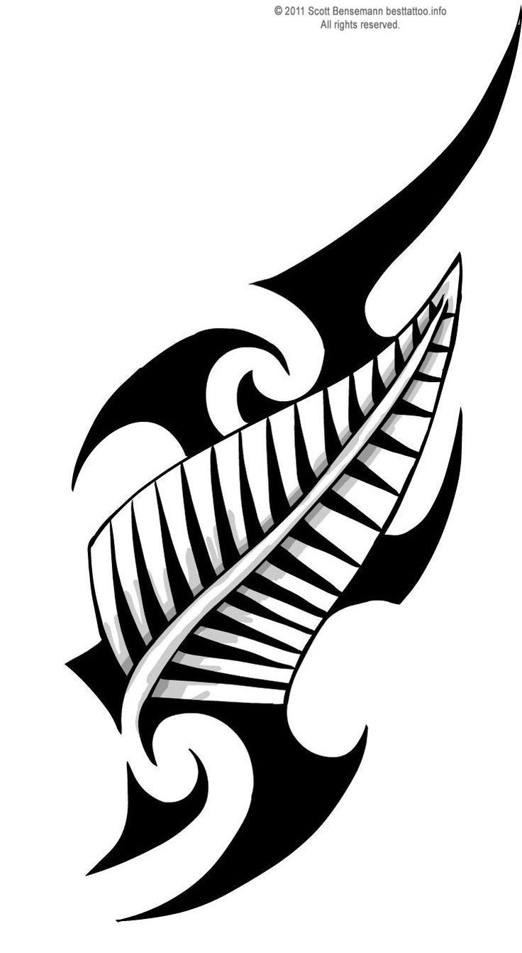 tribal designs | Maori Tribal design with New Zealand silver fern Tattoo flash