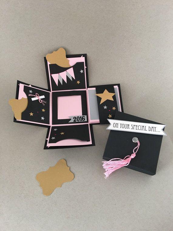 Explosión caja - graduación de la escuela - graduación Mini álbum de fotos - explosión caja álbum - tapa Grad y borla - 3D tarjeta