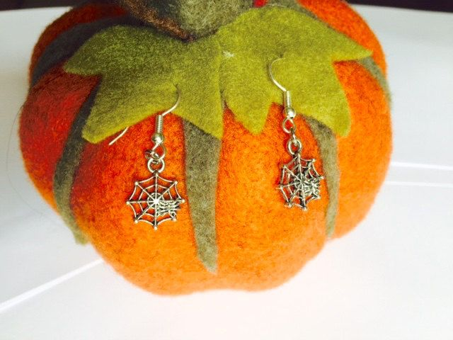 Halloween - Spider's Webb Earrings - Fancy Dress - Sterling Silver or Silver Plated by Makewithlovecrafts on Etsy