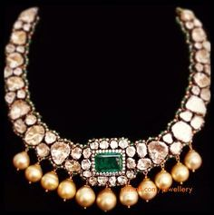 Gorgeous uncut diamond necklace with south sea pearl drops. Bridal jewellery.