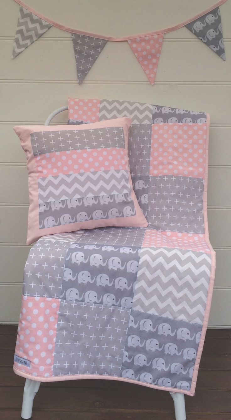 Pink and Grey Elephants Patchwork Cot / Crib Quilt with Cushion Cover & Bunting Flags Available by Danoah on Etsy https://www.etsy.com/listing/212351437/pink-and-grey-elephants-patchwork-cot