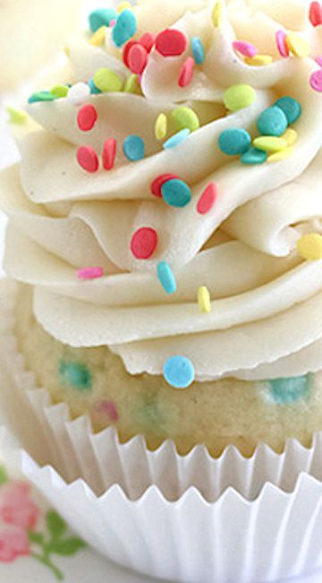 Confetti Cupcakes with Cake Batter Frosting for Three