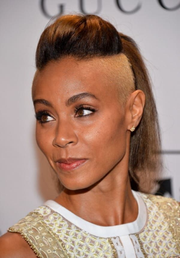 The half-shaved head is a difficult look to pull off but Jada-Pinkett Smith makes it look easy.