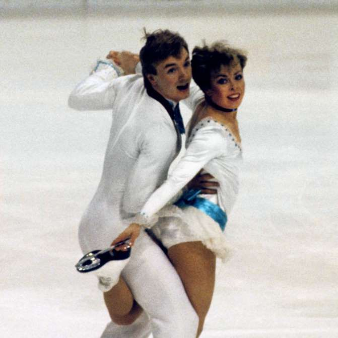 March 12,   1984: FIRST TO SCORE 9 PERFECT 6  -    British ice dancing team, Jayne Torvill and Christpher Dean, become first skaters to receive 9 perfect 6.0s in world championships.