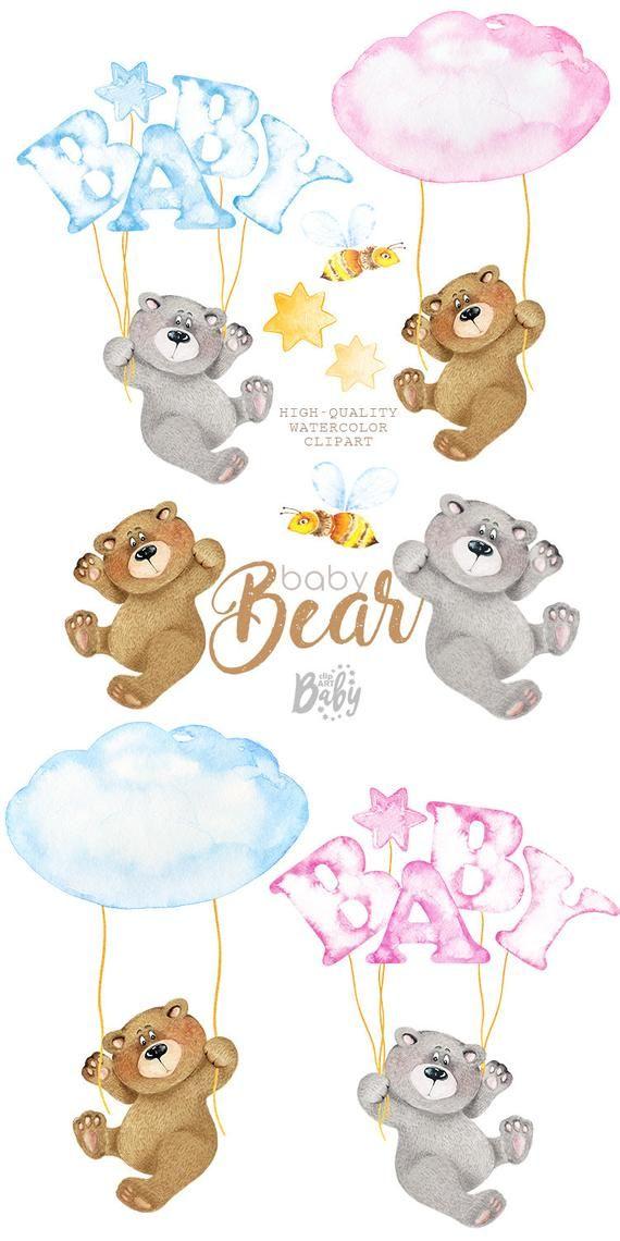 Watercolor Baby Bear Little Characters Cute Animal Clipart Etsy In 2021 Cute Animal Clipart Baby Painting Baby Bear