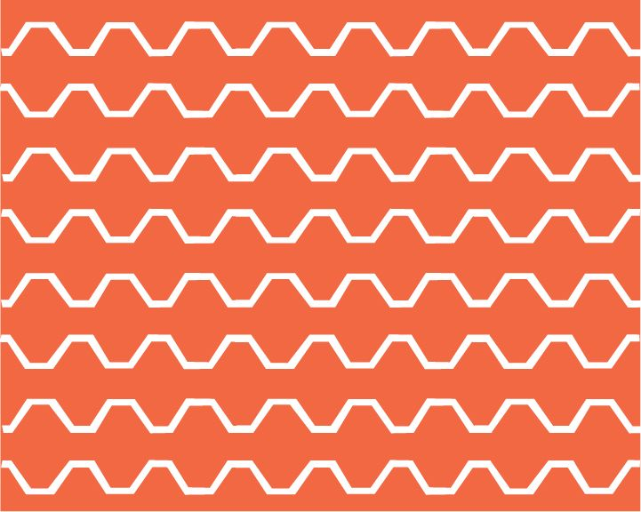 Jagged Waves - Coral and White