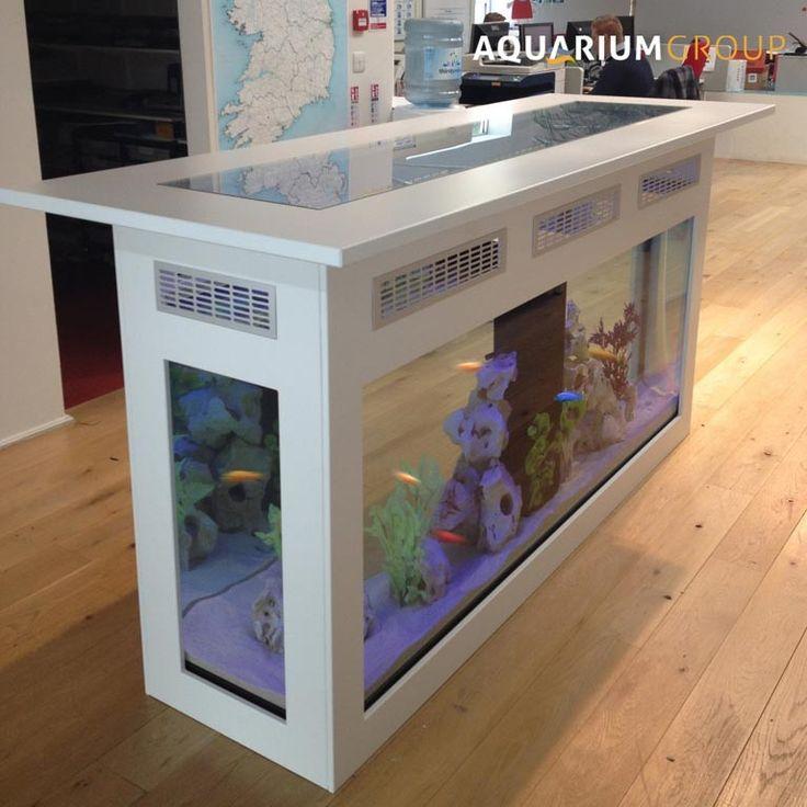 Freestanding Counter Aquarium   A Free Standing Bar Aquarium For Commercial  Client. Glass Top Allows Spectacular Aquatic Viewing.