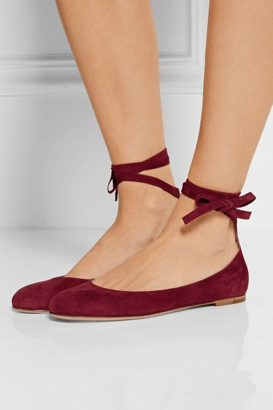 Heel measures approximately 10mm/ 0.5 inches  Claret suede  Ties at ankle  Made in Italy Large to size. See Size & Fit notes.