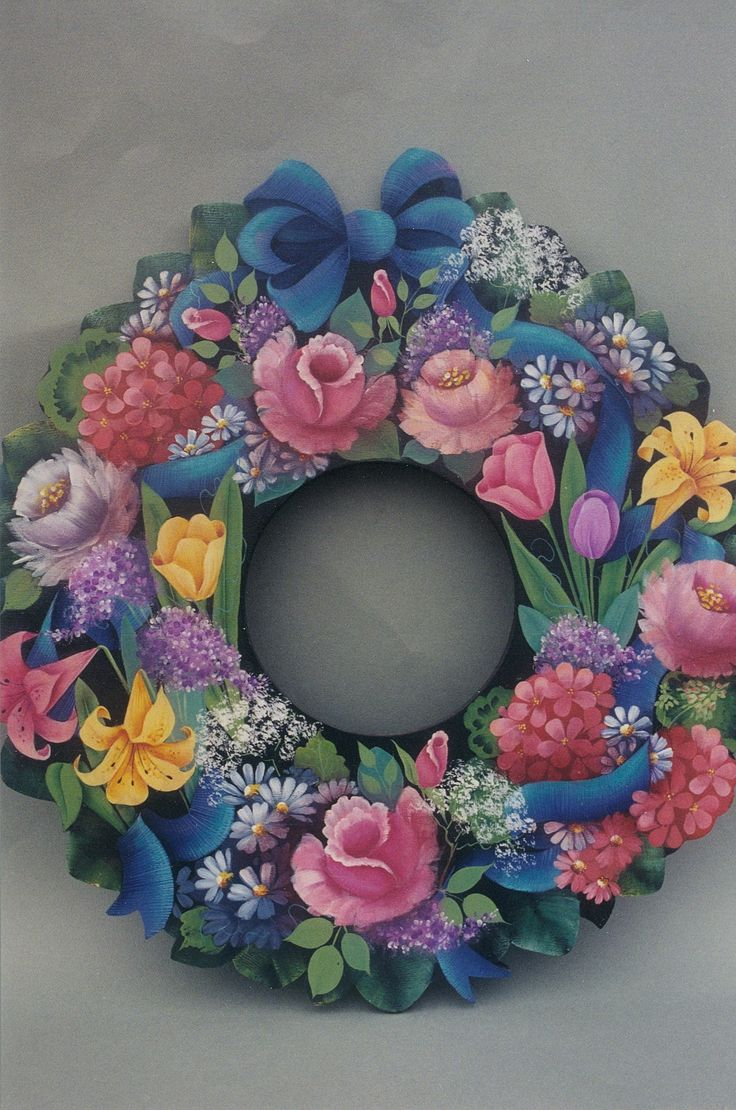 Spring Flower Wreath 21  I think I would use real satin blue ribbon, for a bow at the top, verses painting it on.