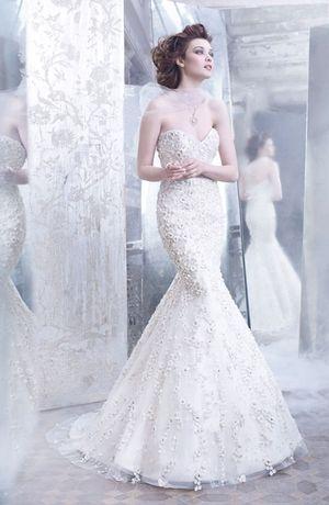 Lazaro - Sweetheart Mermaid Gown in Silk Organza