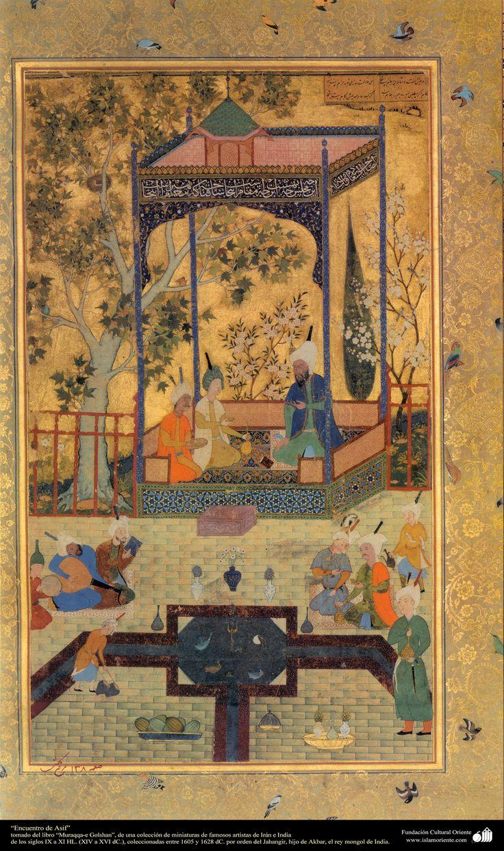 """""""Asif Meeting"""" of """"Muraqqa-e Golshan"""" - HL IX-XI centuries. (XIV to XVI AD.)  شاهکار مینیاتور فارسی - برخورد آصف - کتاب کوچک مرقع گلشن - 1605،1628"""