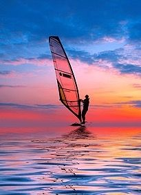 Windsurfing into the sunset...!