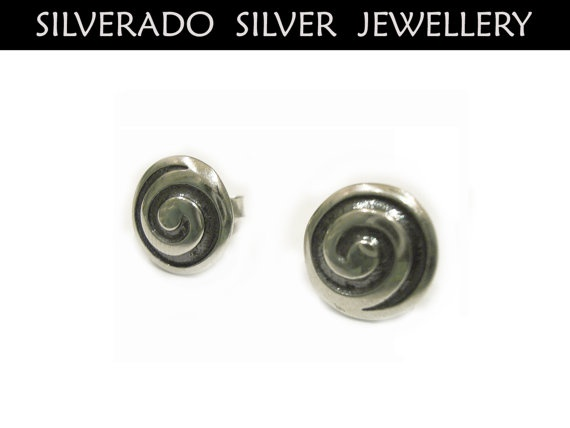 Ancient Greek Eternity Spiral Key Round Stud by SilveradoJewellery, €20.00