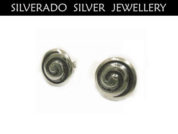 Ancient Greek Eternity Spiral Key Round Stud by SilveradoJewellery, €20.00
