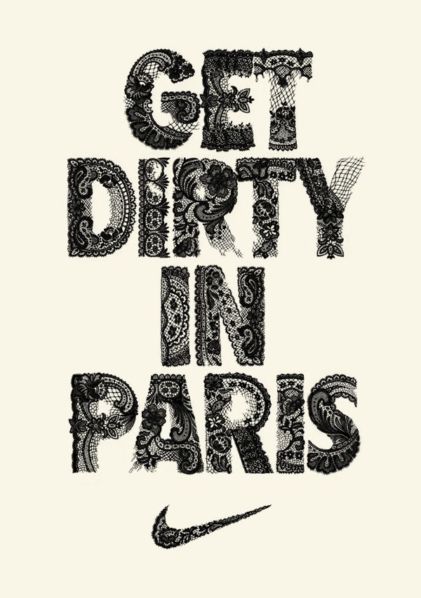 Lace typography for Nike's French Open t-shirts. Teagan White Illustrator Art direction by Julia Dickey.