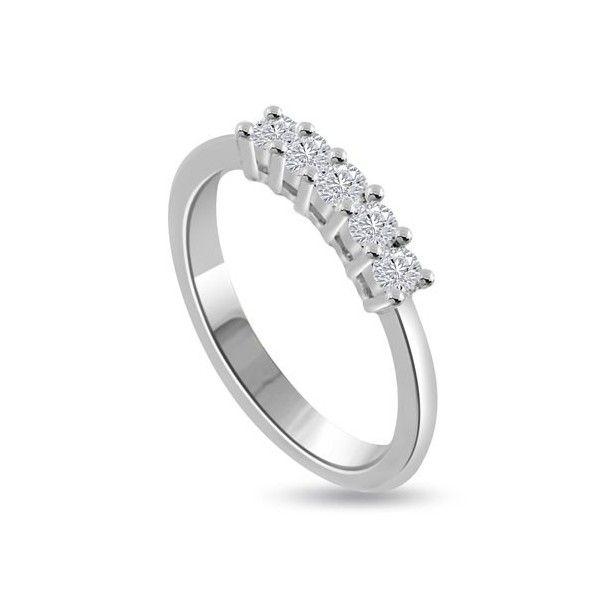 MEZZA VERETTA ANELLO 18CT ORO BIANCO | Veretta. I 5 Diamanti Taglio Brillante hanno un peso totale che vadia da 0.50ct a 1.0ct.Il peso dei carati per ciascun diamante e` disponibile da 0.10ct a 0.20ct . I Diamanti sono montati in Griffe. Tutti i diamanti sono disponibili in I, H, G ed F colore e in VS1 ed SI1 purezza. La fascia e` 2.3mm. Questo anello e` accompagnato dal certificato del diamante.