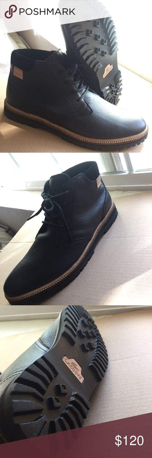 1 day sale NEW Lacoste Montbard chukka 2 size 11 Brand new black leather Lacoste montbard chukka 2 boots in men's size 11. Never worn and they have been sitting in my closet for two months now and just seems like a waste. Selling on eBay for $150+. Lacoste Shoes Chukka Boots