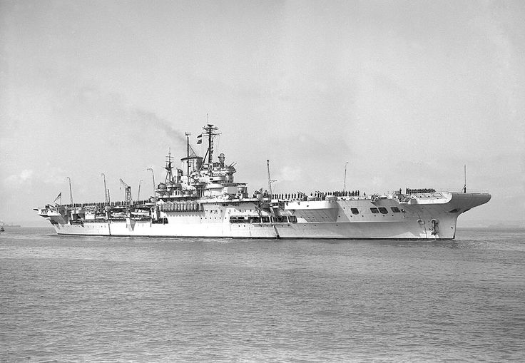 HMS Illustrious in 1951. Illustrious airgroup, and especially her 21 Swordfish torpedo bombers, had a major role at the Battle of Taranto.