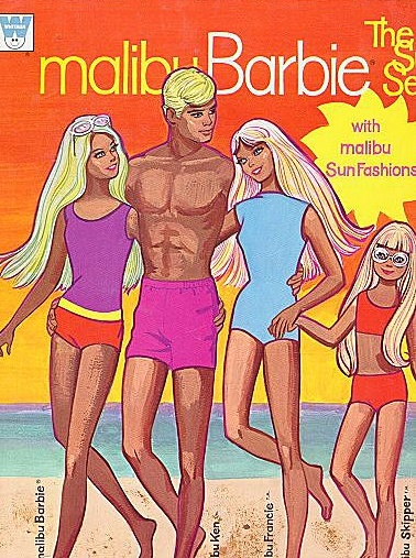 Malibu Barbie, doll paper book. 1971. My first barbie was a malibu. And there's good old flat chested Skipper!