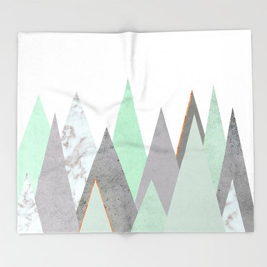Our seriously soft throw blankets are available in three sizes and feature vividly colored artwork on one side. Made of 100% polyester and sherpa fleece, these might be the softest blankets on the planet, so get ready to cozy up. mint, teal, copper, gold, turquoise, circle, concrete, gray, mountains, triangles, minimalist, geometry, geometric, Scandinavian, minimal, mid century, design, trend, white, fresh, modern, society6, print, tapestry, window curtains, bathroom, bedroom