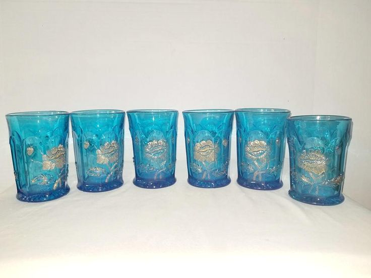 Antique Northwood Oriental Poppy Glassware #etsy shop: Antique Northwood Aqua Glassware,Oriental Poppy Glasses,Gold Gilt,Northwood Oriental Poppy, EAPG Tumblers,AquaGlass, Turquoise Glass,1910s http://etsy.me/2iuiDzF #Antiqueglass #northwoods #junkyardblonde #gotvintage #aqua
