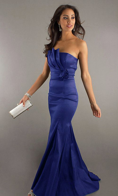Long Strapless Form Fitting Dress