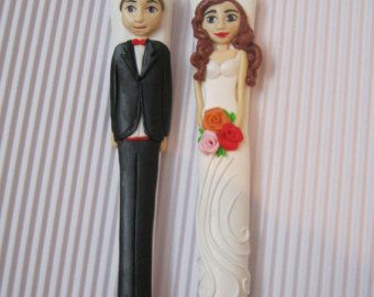 Wedding Cake Bride Groom Wedding Decoration by cutlerydesignJS