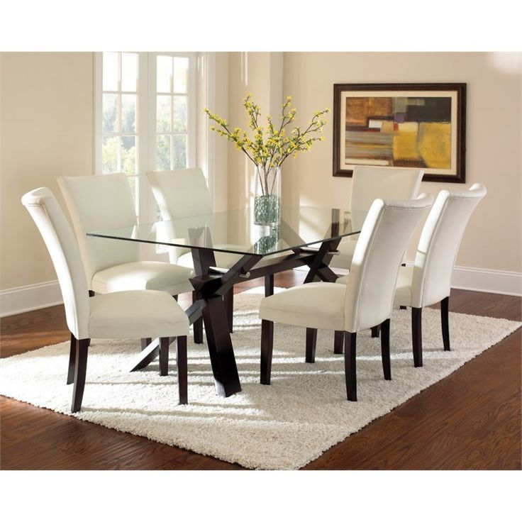 Lowest Price Online On All Steve Silver Berkley Glass Top Dining Table In Espresso Cherry