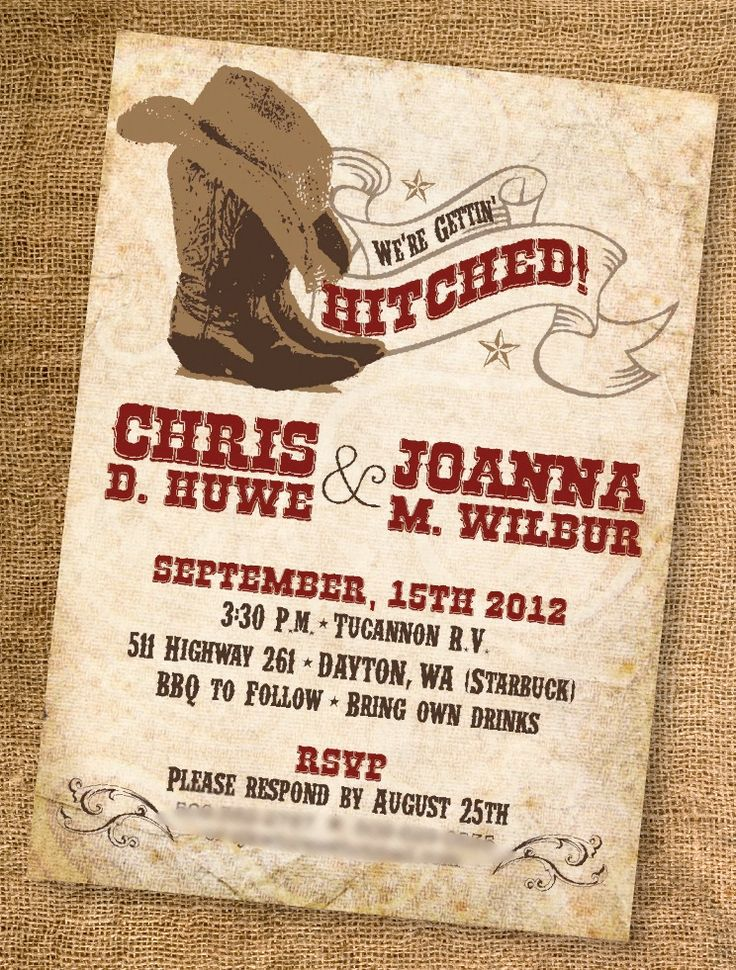 Personalize! Printable Casual Cowboy Western Wedding Invitation - Customize with one wedding color, and your wedding details.