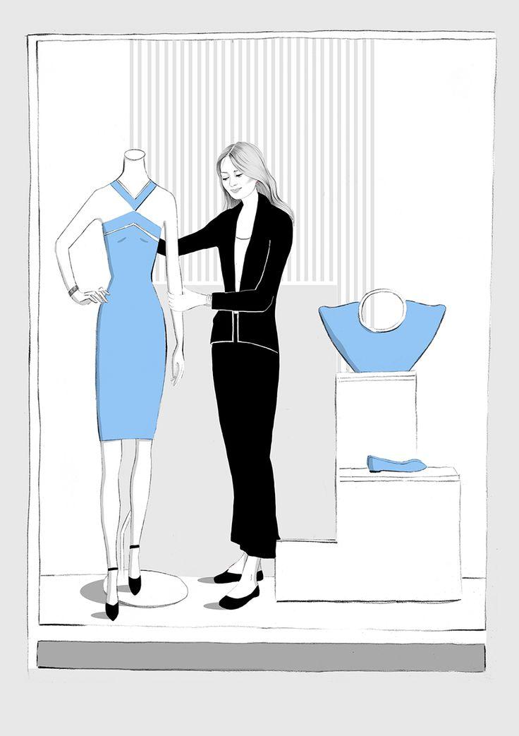 Visual merchandiser fashion illustration by illustrator Kelly Thompson for Four Seasons recruitment London www.kellythompsoncreative.com