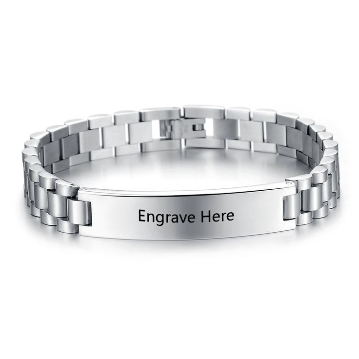 Personalized Engrave Name Bracelet Fashion Silver Men Bracelet Stainless Steel Bracelets & Bangles For Men Women BA101446