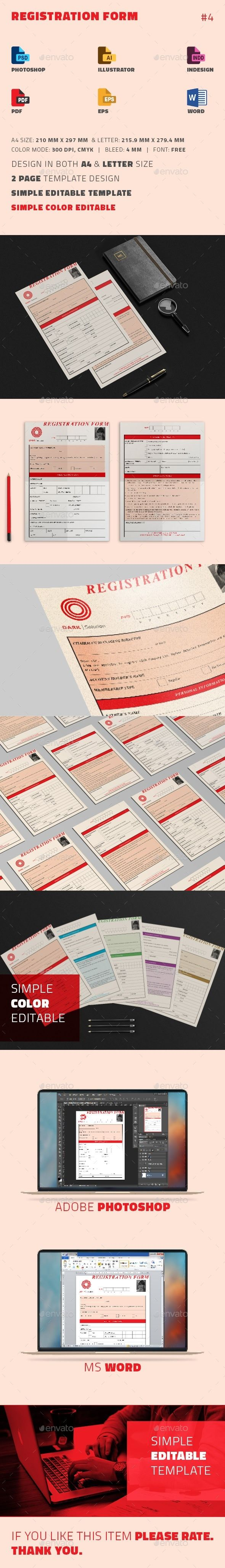 Registration Form Miscellaneous Print Templates Download