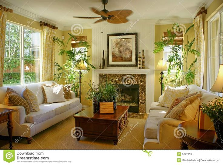 Yellow Brown Green Living Room