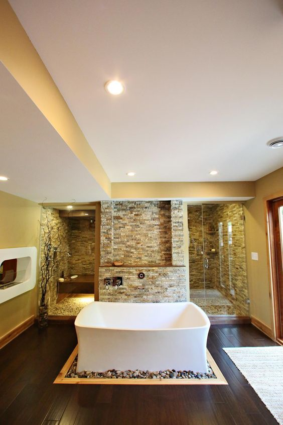 Website Photo Gallery Examples As seen on HGTV us Bath Crashers a contemporary spa bathroom features a stone accent wall walk in sauna and shower as well as luxurious soaking tub