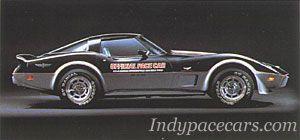 """Indypacecars.com - 1978 pace car, Chevy Corvette. 25 years after the birth of """"America's Sports Car"""", the Corvette finally got a chance to pace the Indy 500 in 1978.  The car, powered by a 220-horsepower, 5.7L V-8 engine, was the first Pace Car in history to use an entirely stock drivetrain.  The pace car was driven by 1960 Indy 500 winner Jim Rathmann, his fifth time at the wheel of the pace car."""