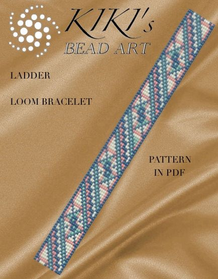 Bead Loom pattern, Ladder LOOM bracelet cuff PDF pattern - instant download