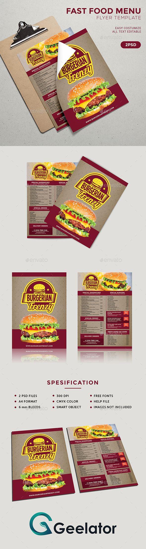 Fast Food Menu Flyer Template - #burger #business #cafe #clean #coffe #creative #deliciousmenu #elegant #fastfood #flyer #food #foodmenu #magazinead #menu #menudesign #menutemplates #onepagemenu #poster #printtemplate #promotionrestaurant #restaurantmenu #retro #retromenu #sandwich #streetmenu #style #vintage #vintagemenu
