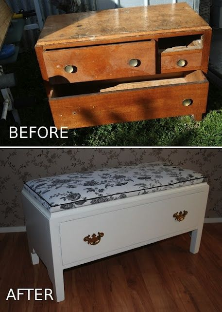 before after old chest of drawers which was missing a