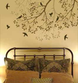 I think your home should be your favorite place to be. Somewhere you look forward going back to. Stenciling is cheap, easy, and makes every room a work of art. How I'd love to wake up each morning under a tree filled with song birds <3