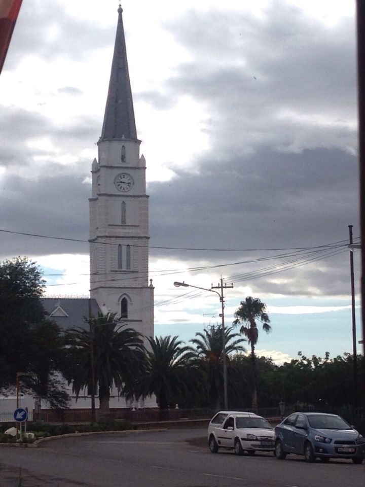Church steeple in Aberdeen on a cold winters morn in the Karoo