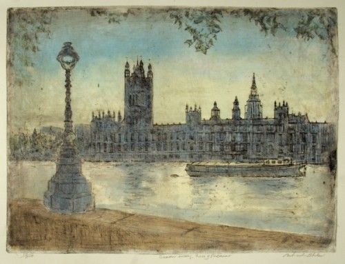 Give the gift of art! This original contemporary limited edition etching of the Houses of Parliament on a hazy summer evening would make the perfect present for any Londoner. Available for £200.