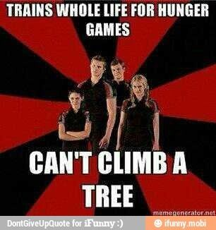 If you read the book you know why they would not be able to climb a tree and the tree was described as thin and Katniss was so light compared to the other tributes that she could climb up the skinny branches without breaking them.