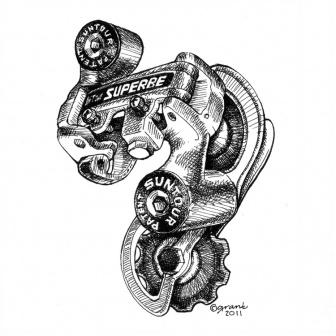 SunTour Superbe Rear Derailleur Print. Order at synapticcycles.com