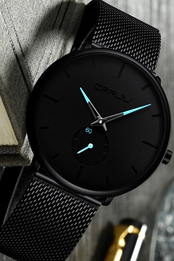 Finiera Minimalist Black Steel Watch