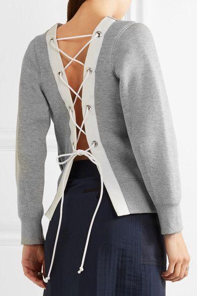 Sacai - Oversized Lace-up Stretch Cotton-blend Jersey Sweatshirt - Light gray - 2