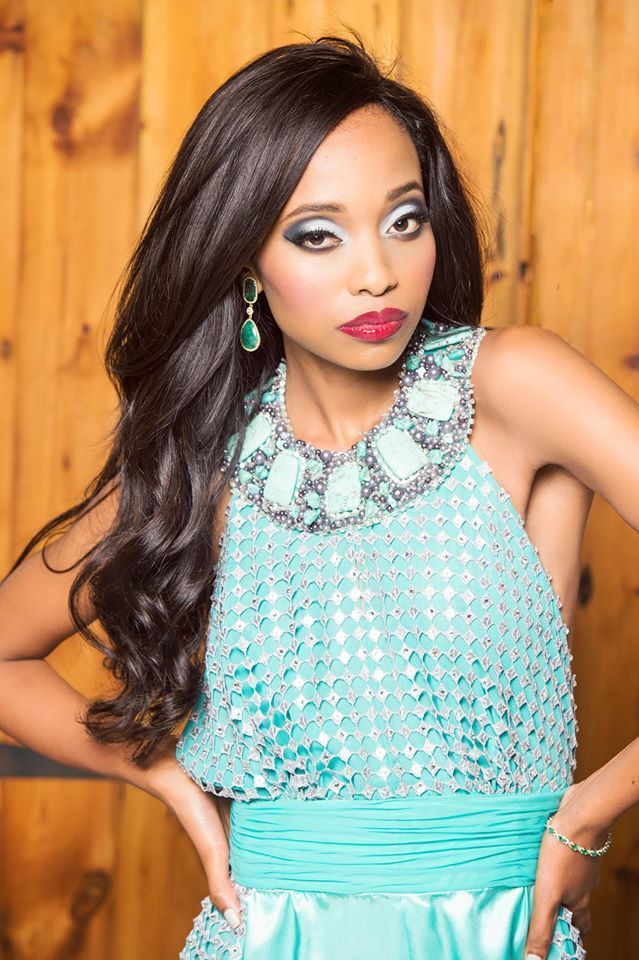 Miss South Africa Ntandoyenkosi Kunene wearing emerald slice drop earrings with tennis bracelet. Sophistication! Jack Friedman supplied the jewellery. Photographer: Kevin Mark Pass - Photographer Styling: Noreen Kajee Vareta Shoes: Europa Art Shoes